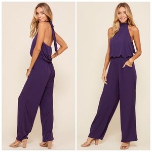 Purple Halter Wide Leg Jumpsuit S/M/L